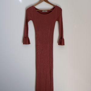 Zara Knit Peach Bateau & Tube Dress